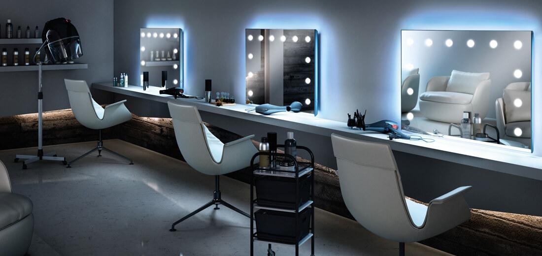 Console de maquillage éclairé pour salons