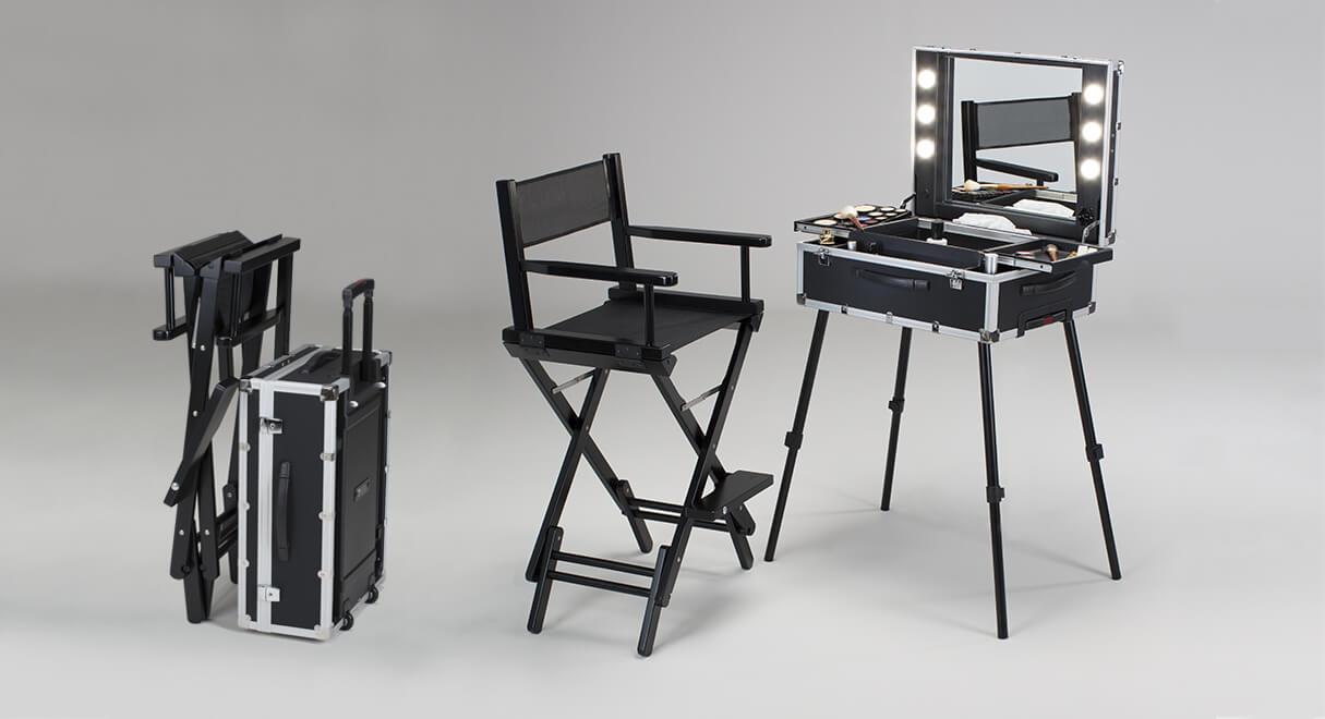 Valise maquillage avec chaise maquilleur pliable