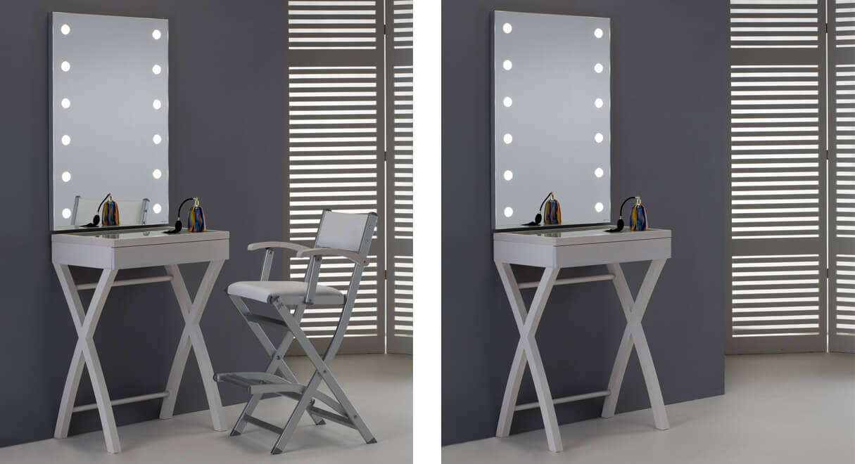 poste de maquillage professionnel avec lumi res. Black Bedroom Furniture Sets. Home Design Ideas