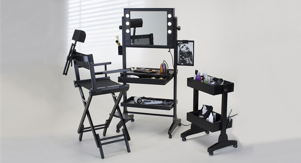 Table maquillage professionnel sur roues